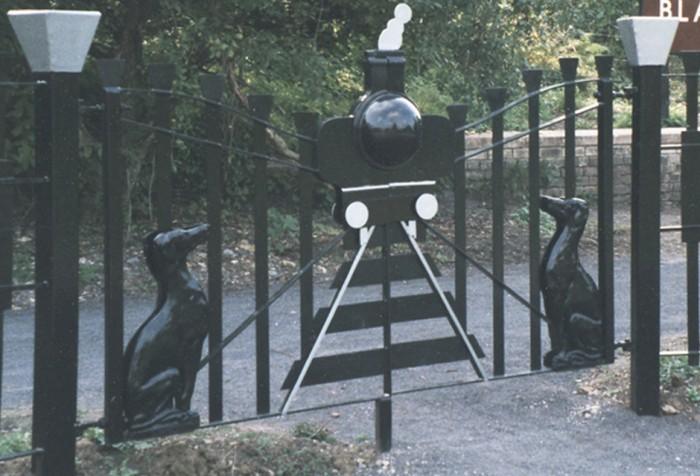 Black Dog Halt Gate Railings Sculpture