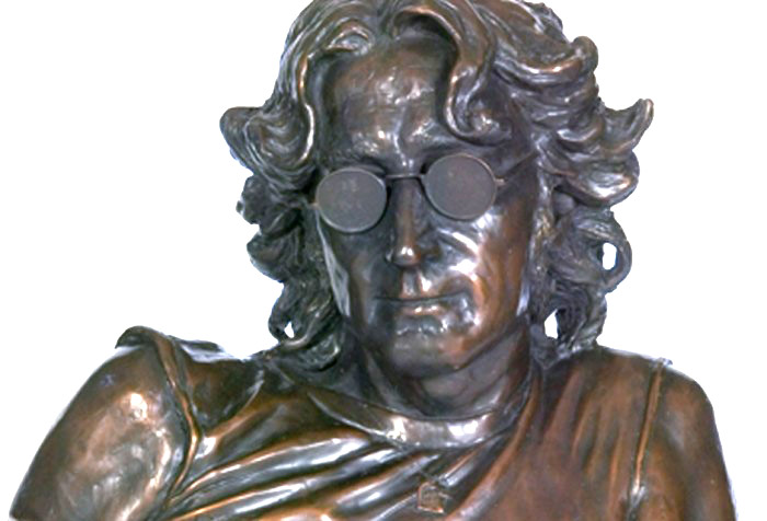 John Lennon portrait sculpture in bronze- icon memorial
