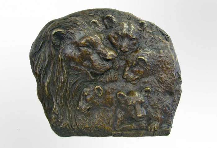 Bronze Lion Plaque Sculpture / Bas Relief