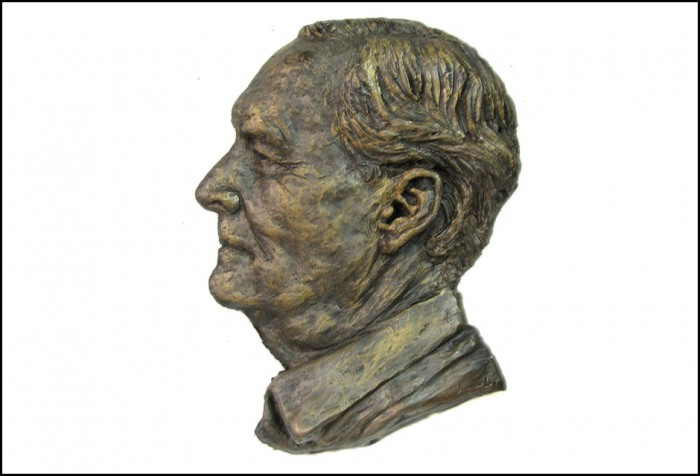 Portrait Bronze Sculpture in relief  of Tony Benn