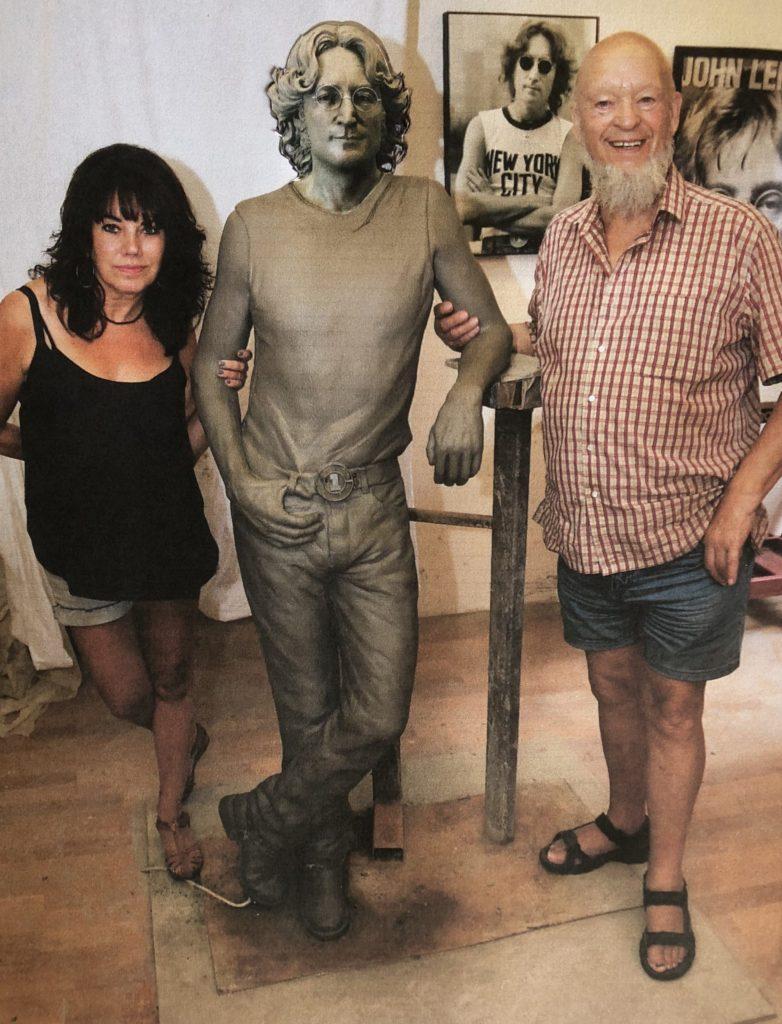 Clay model of John Lennon with Michael Eavis