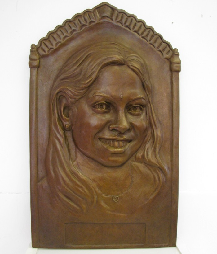 Portrait Sculpture in bronze plaque relief of Sonal in Bronze