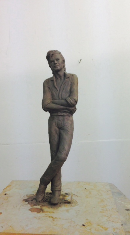 David Bowie sculpture - clay for bronze