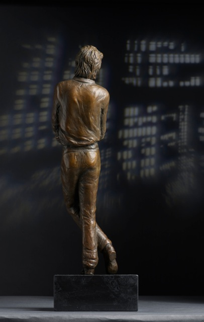 David Bowie Bronze Portrait Sculpture Rear View
