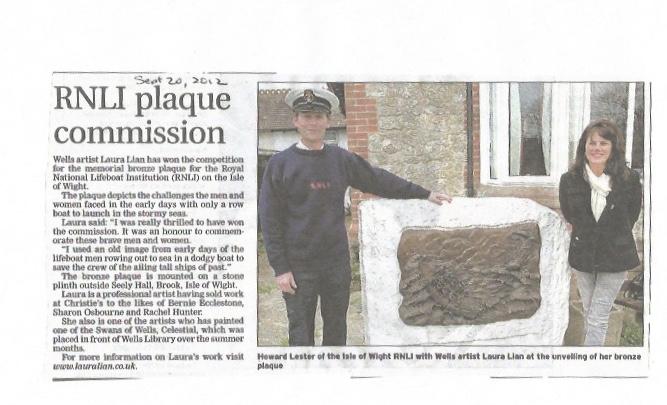 RNLI life boat memorial - bronze plaque - Idle of wight