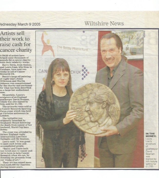 relief sculpture of David Seaman - signed.